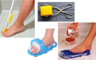 How to wash lower legs and feet if you can't bend over
